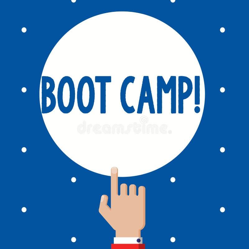 Texto Boot Camp de la escritura Campo de entrenamiento militar del significado del concepto para la aptitud dura de la disciplina stock de ilustración