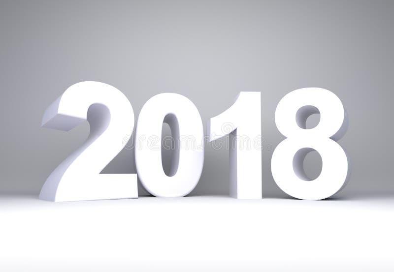 Texto branco do ano 2018 ilustração royalty free