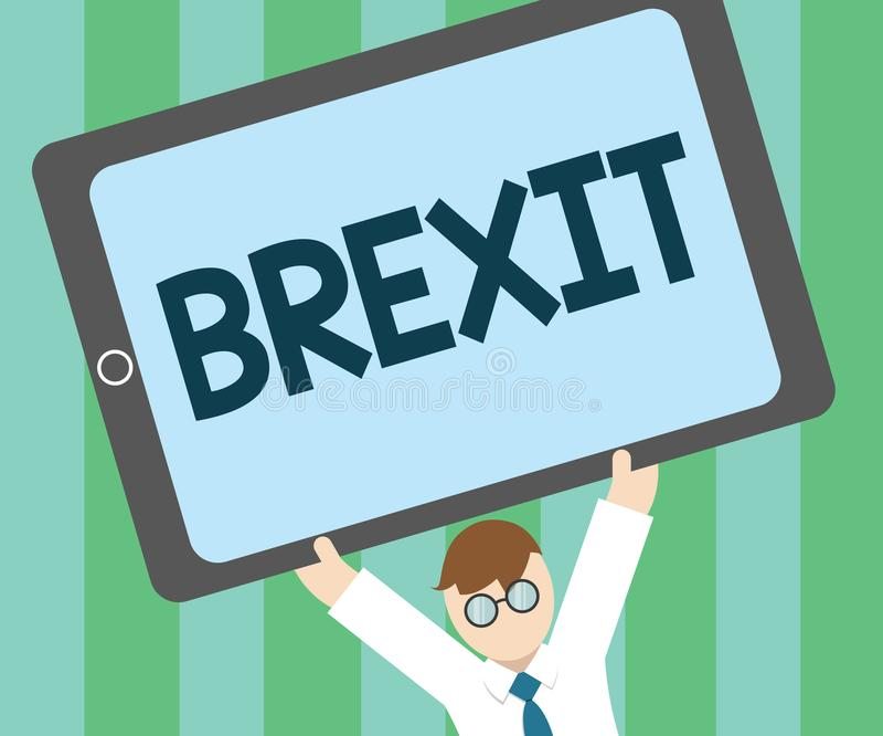 Texto Brexit da escrita da palavra Conceito do negócio para a partida potencial do termo de Reino Unido da União Europeia ilustração stock
