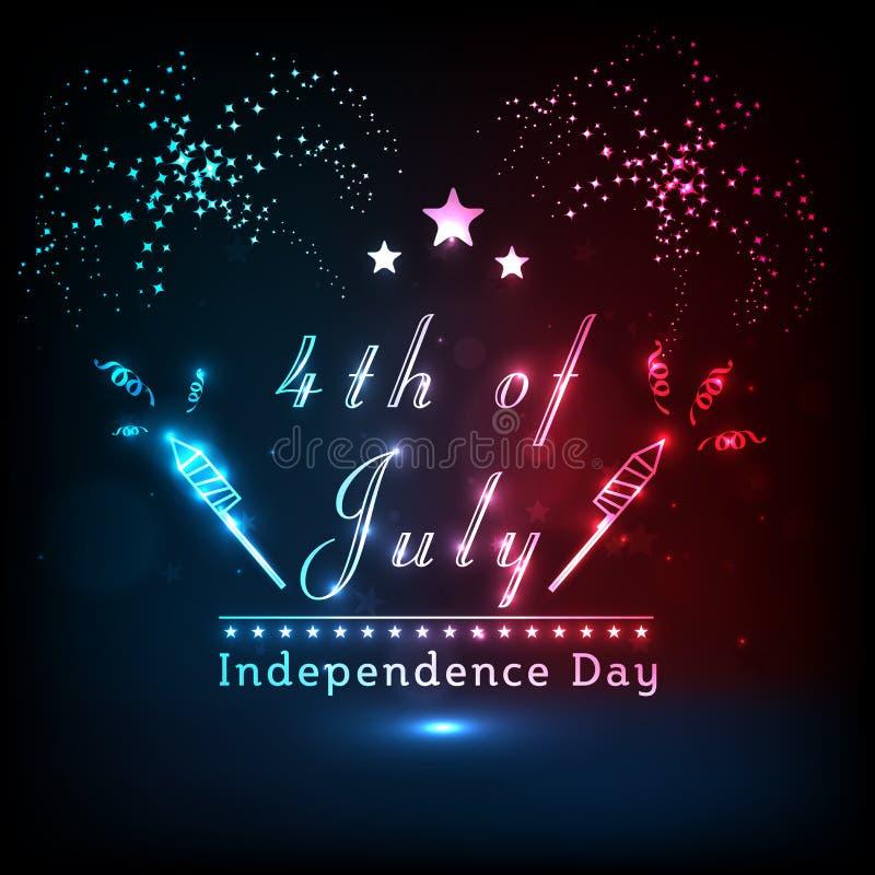 Texto brilhante com o fogo de artifício para o Dia da Independência americano ilustração stock