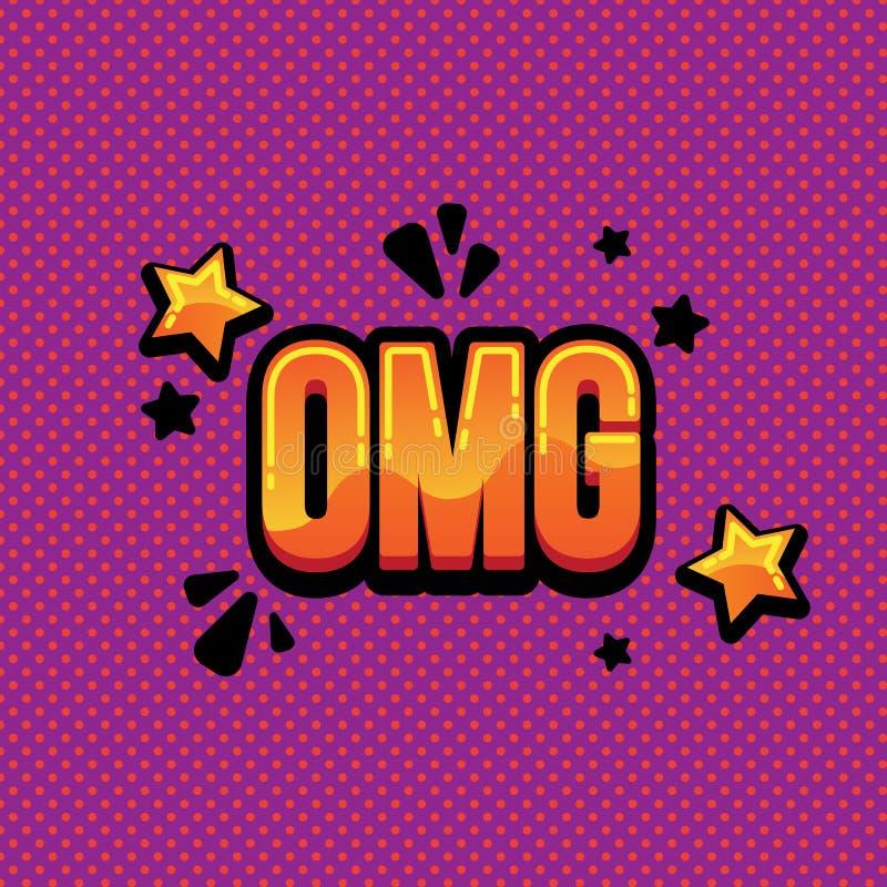 Texto cómico del omg de las letras Omg cómico del texto del ejemplo brillante fotografía de archivo