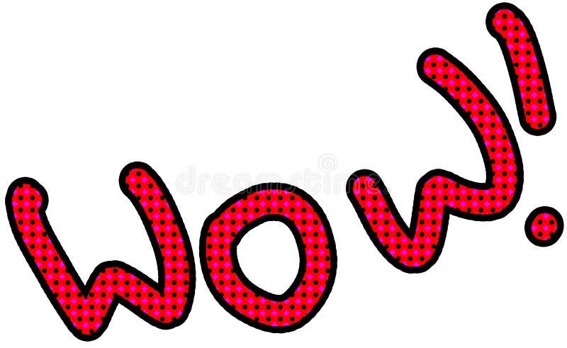 Texto cômico uau no estilo do pop art única palavra no fundo branco, ilustração da quadriculação ilustração royalty free
