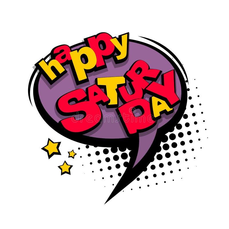 Texto cômico sábado feliz dos desenhos animados ilustração do vetor