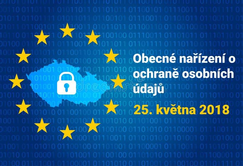 Texto checo, traducción inglesa - GDPR - regulación general de la protección de datos stock de ilustración