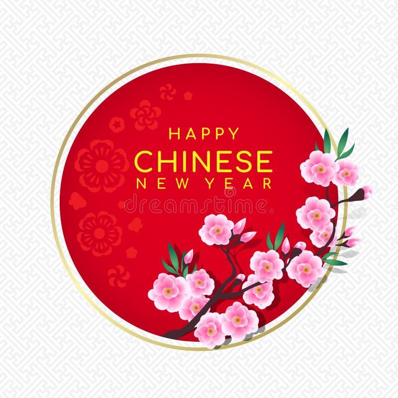 Texto chinês feliz do ano novo na bandeira do círculo com quadro cor-de-rosa da flor e do ouro do pêssego da flor no fundo chinês ilustração royalty free