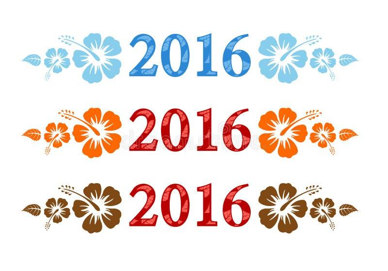 Texto colorido de la hawaiana 2016 del vector con el hibisco stock de ilustración