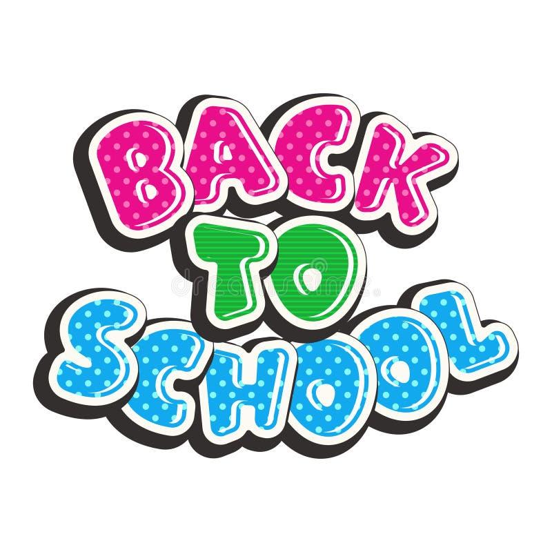 Texto colorido de volta à escola isolada no fundo branco ilustração do vetor