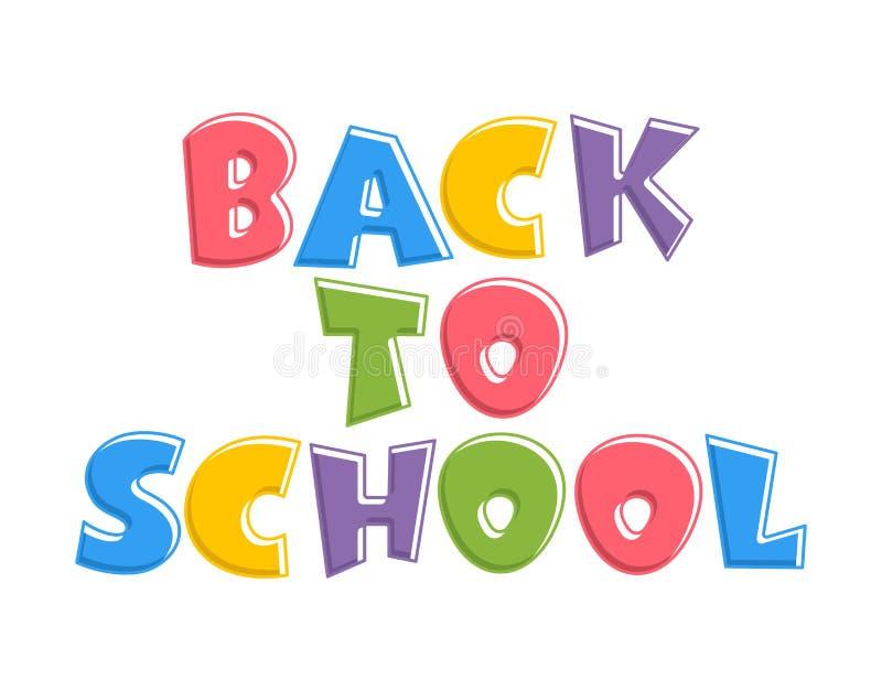 Texto colorido de volta à escola isolada no fundo branco ilustração stock
