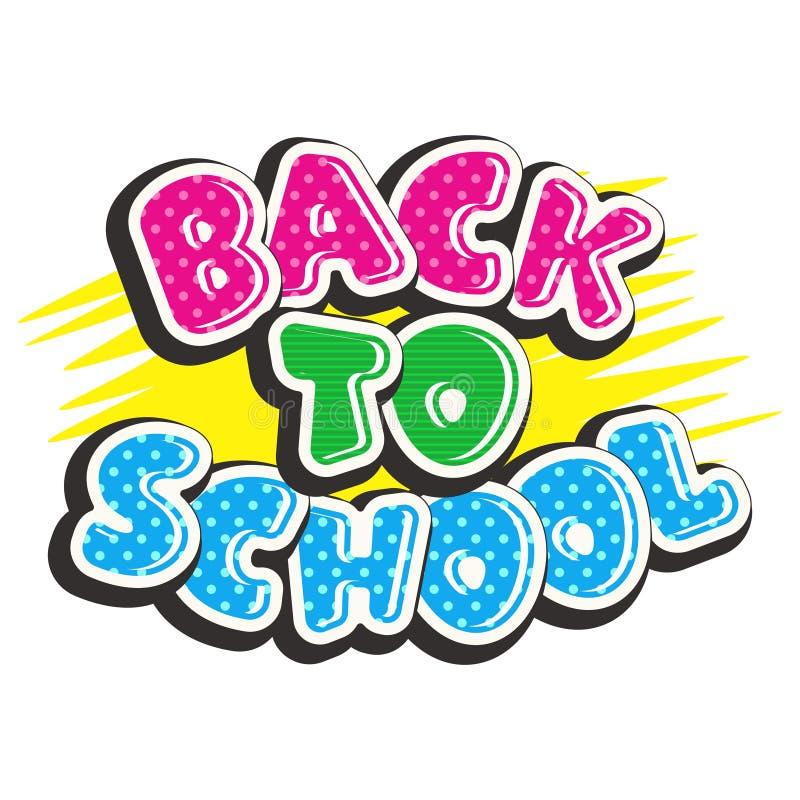 Texto colorido de volta à escola no fundo amarelo ilustração stock