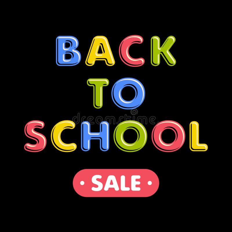 Texto colorido de volta à escola no fundo preto ilustração royalty free