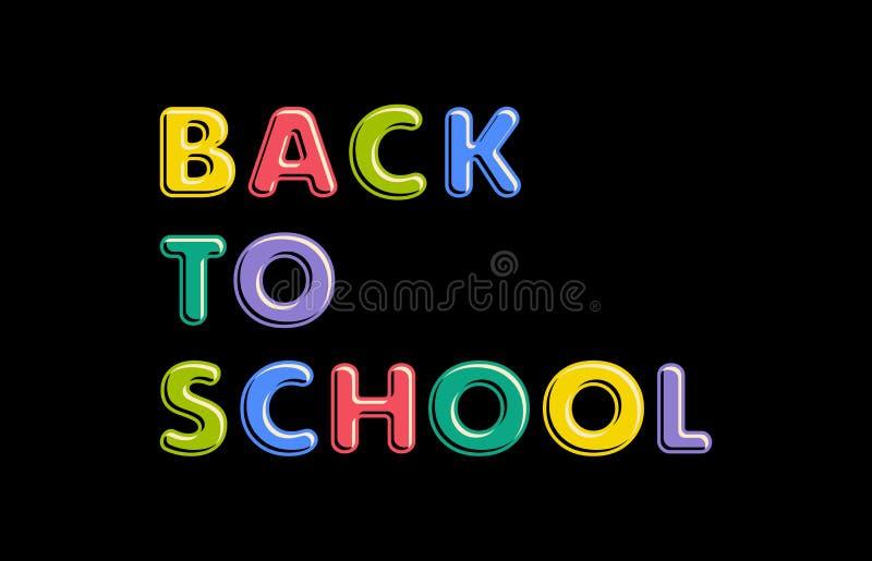 Texto colorido de volta à escola no fundo preto ilustração do vetor