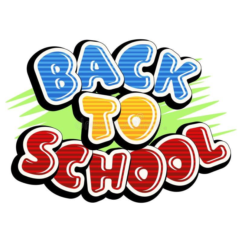 Texto colorido de volta à escola no fundo verde ilustração stock