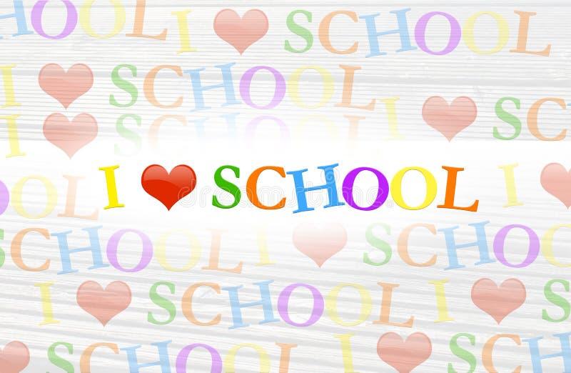 Texto colorido del fondo de la escuela del amor de I stock de ilustración