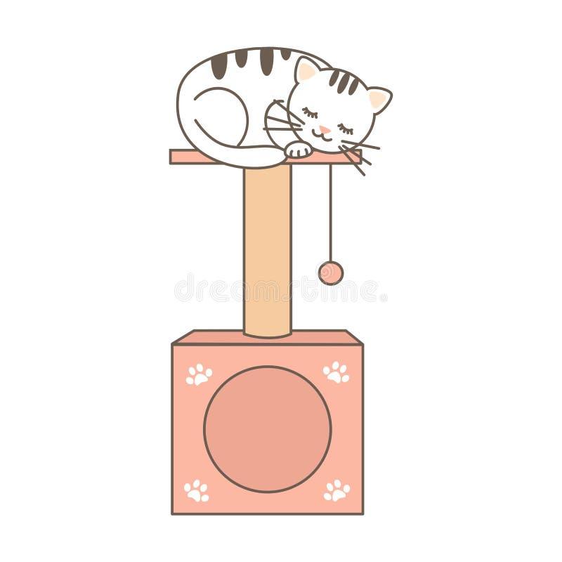 Texto colorido lindo de la flor de la primavera del vector aislado en la casa blanca del gato del vector de la historieta del bac ilustración del vector