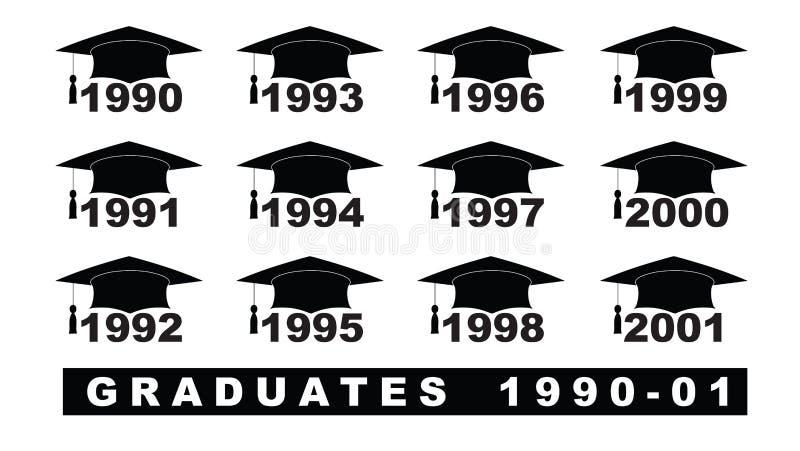 Texto com grupo do chapéu 1990-2001 da graduação em uma ilustração branca ilustração royalty free