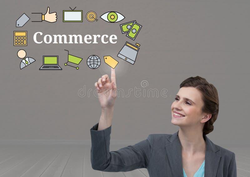 Texto conmovedor del comercio de la empresaria con los gráficos de los dibujos stock de ilustración