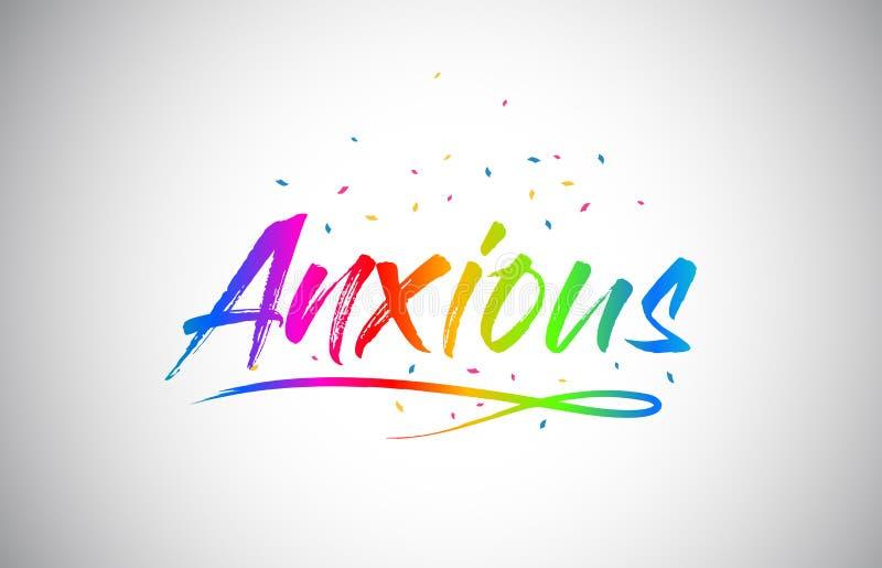Texto creativo ansioso de la palabra de Vetor con colores vibrantes y confeti del arco iris manuscrito libre illustration