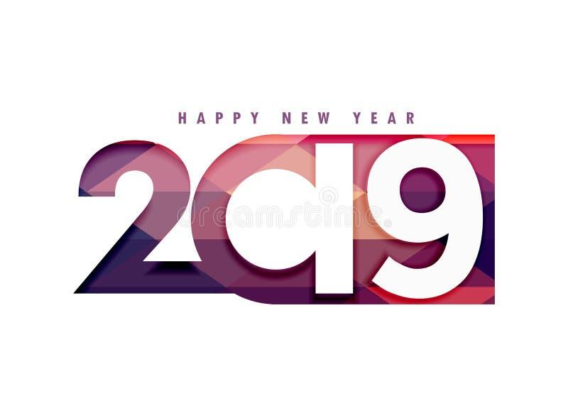 texto criativo do ano 2019 novo feliz no estilo do papercut ilustração stock