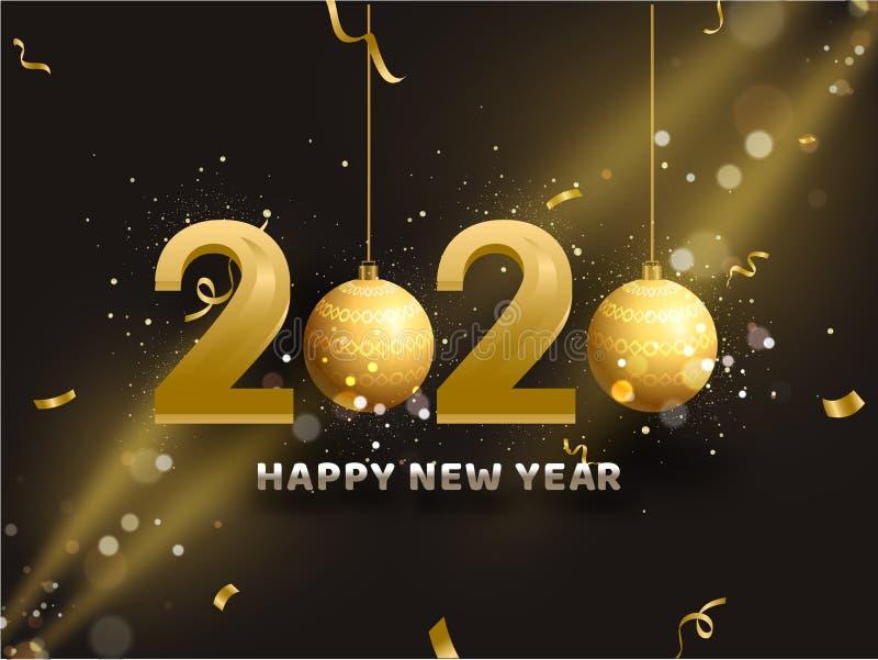 Texto 3D Golden 2020 con baudias colgantes sobre el fondo del efecto luz marrón para la celebración Feliz Año Nuevo diseño de tar ilustración del vector