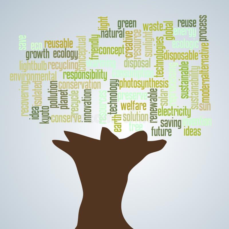 Texto da árvore da ecologia ilustração do vetor