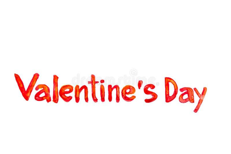 Texto da aquarela do dia de Valentine's imagens de stock
