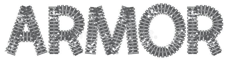 Texto da armadura com as letras feitas de trilhas do tanque ilustração do vetor