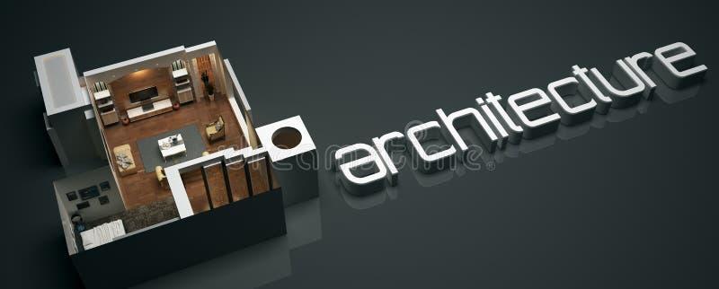 Texto da arquitetura 3D com projeto de planta baixa ilustração do vetor