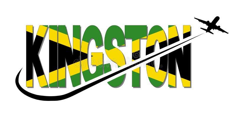 Texto da bandeira de Kingston com ilustração do plano e do swoosh ilustração royalty free