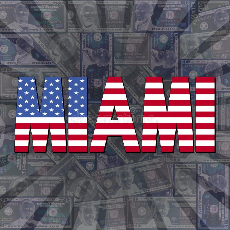 Texto da bandeira de Miami na ilustração da explosão dos dólares ilustração stock