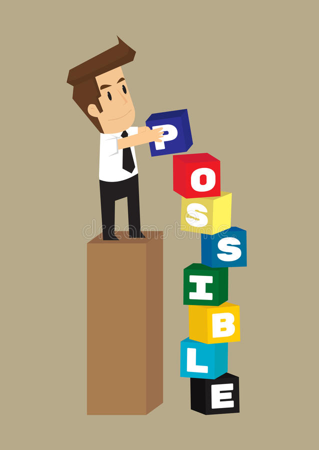 Texto da caixa do tipo do homem de negócio como possível ilustração stock