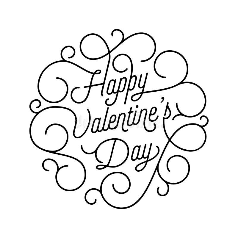 Texto da caligrafia do swash do cartão de Valentine Day para o molde do projeto de cartão O preto feliz do dia de Valentim do vet ilustração stock