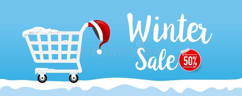 Texto da caligrafia da venda do inverno com carro e o chapéu de envio 001 de Santa ilustração stock