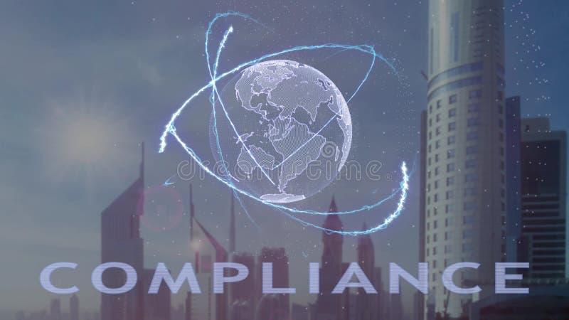 Texto da conformidade com holograma 3d da terra do planeta contra o contexto da metr?pole moderna ilustração stock