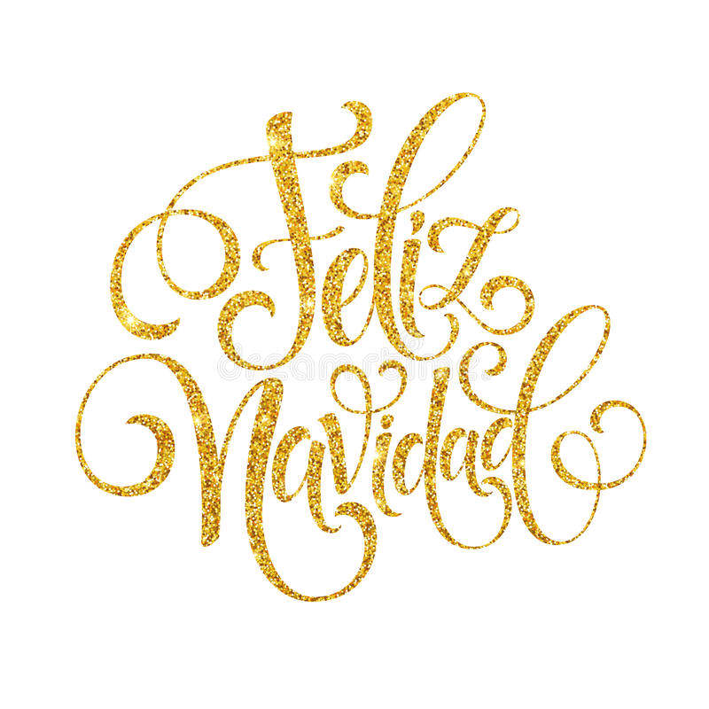 Texto da decoração da rotulação da mão de Feliz Navidad para o molde do projeto de cartão Etiqueta da tipografia do Feliz Natal d ilustração royalty free