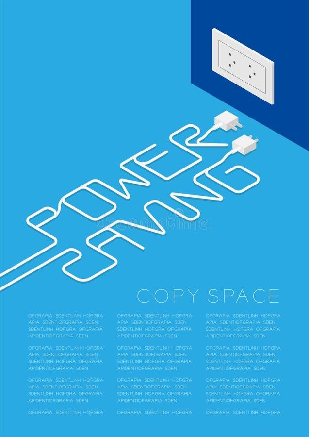 Texto da economia de poder feito da cor branca do cabo da tomada, ilustração do projeto de conceito do ambiente ilustração royalty free
