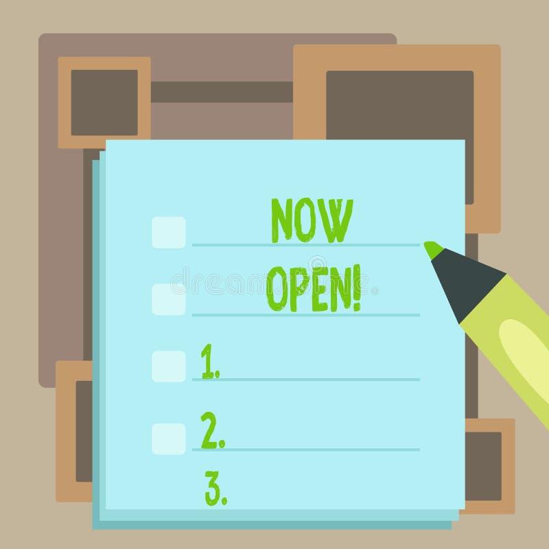 Texto da escrita agora aberto O conceito que significam a porta da licen?a ou as janelas n?o fecharam-se ou barraram-se nesta pla ilustração stock