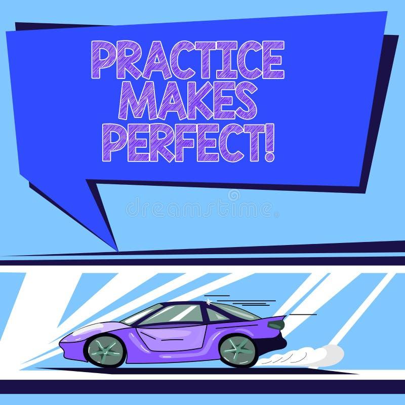 Texto da escrita Errando se aprende Exercício regular do significado do conceito da habilidade a tornar-se perita nele carro com  ilustração do vetor