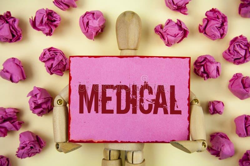 Texto da escrita médico O significado do conceito relacionou-se à ciência do tratamento da medicina para a doença ou os ferimento foto de stock
