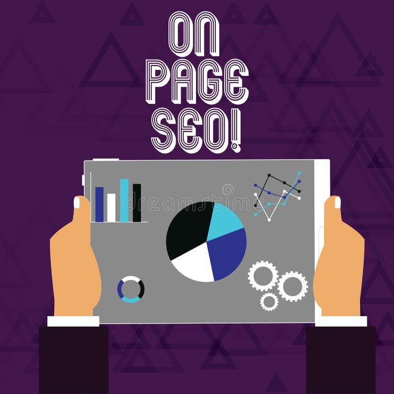 Texto da escrita na página Seo O conceito que significa as medidas tomadas dentro do Web site melhora as mãos das classificações  ilustração do vetor