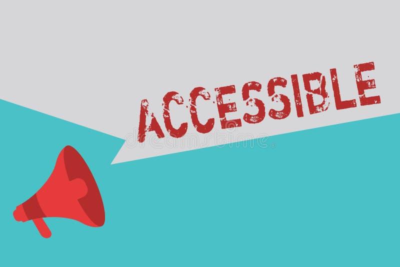Texto da escrita da palavra acessível Conceito do negócio para que capaz seja alcançado ou acesso fácil descontraído amigável inc ilustração stock