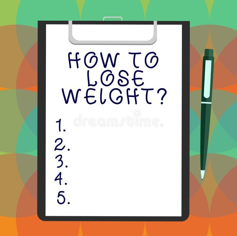 Texto da escrita da palavra como perder Weightquestion Conceito do negócio para que as estratégias consigam o ajustador parar de  ilustração stock