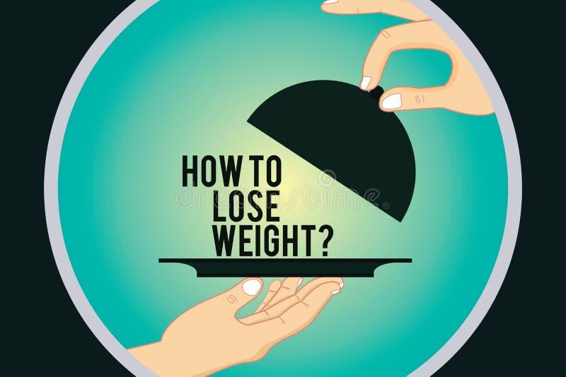 Texto da escrita da palavra como perder Weightquestion Conceito do negócio para que as estratégias consigam o ajustador parar de  ilustração royalty free