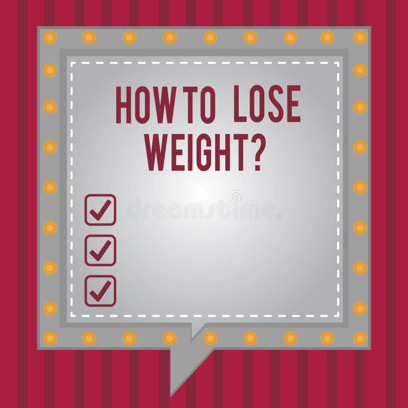 Texto da escrita da palavra como perder Weightquestion Conceito do negócio para que as estratégias obtenham a parada mais apta qu ilustração do vetor