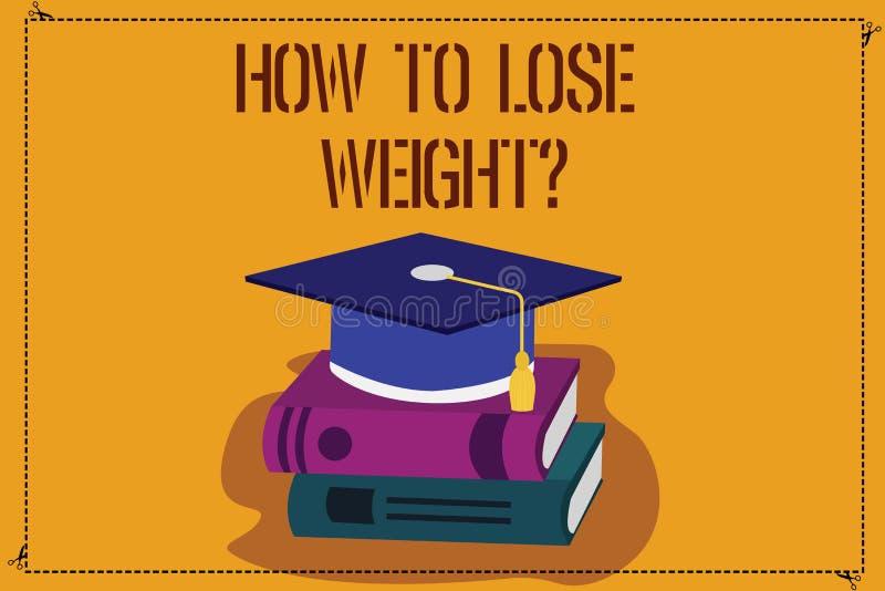 Texto da escrita da palavra como perder Weightquestion Conceito do negócio para que as estratégias obtenham a parada mais apta qu ilustração stock
