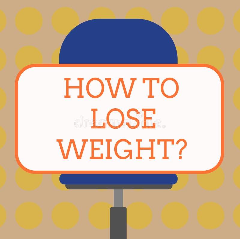 Texto da escrita da palavra como perder Weightquestion Conceito do negócio para que as estratégias obtenham a parada mais apta qu ilustração royalty free
