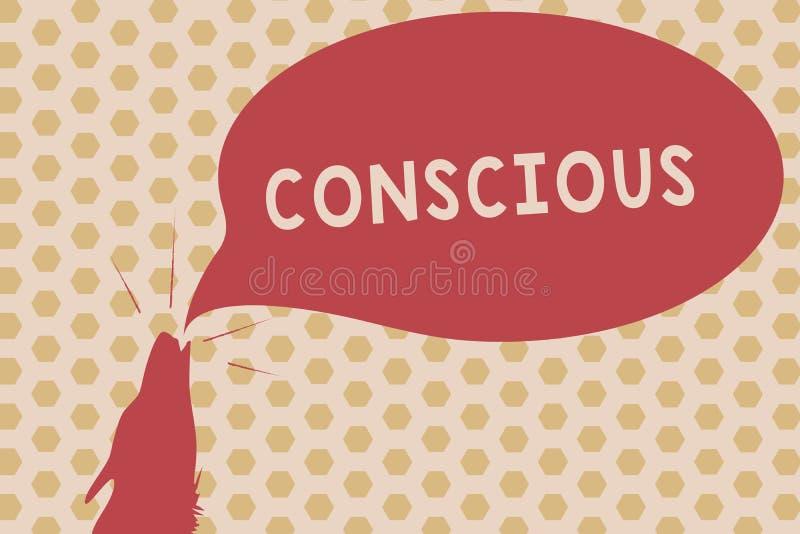 Texto da escrita da palavra consciente O conceito do negócio para ciente de e a resposta a uns os arredores que usam seus sentido ilustração royalty free