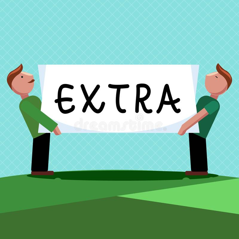 Texto da escrita da palavra extra O conceito do negócio para adicionado a normal existente ou usual do número de uma quantidade a ilustração royalty free