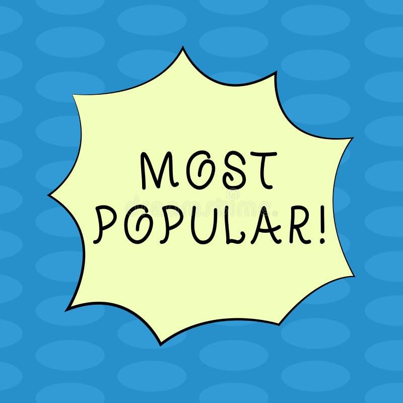 Texto da escrita da palavra o mais popular Conceito do negócio para o produto do bestseller ou o artista favorito de avaliação su ilustração stock