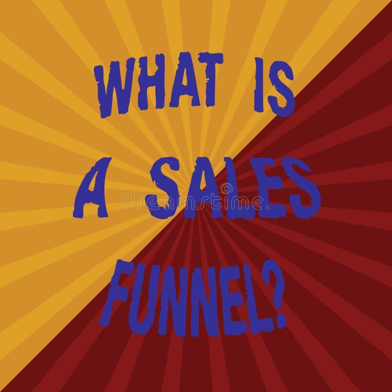 Texto da escrita da palavra o que é vendas Funnelquestion Conceito do negócio para Explain um método de anúncio de mercado dois T ilustração stock