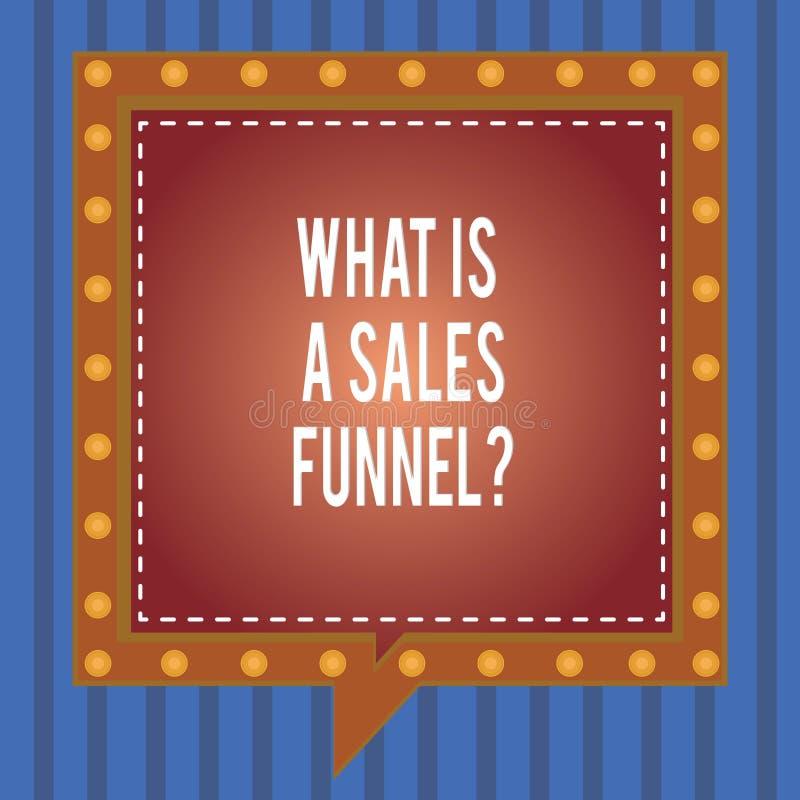 Texto da escrita da palavra o que é vendas Funnelquestion Conceito do negócio para Explain um quadrado de anúncio de mercado do m ilustração do vetor